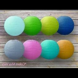 10 Assorted Colors Round Paper Lanterns, Even Ribbing