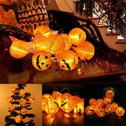 10 LED Pumpkin Lantern Halloween String Fairy Lights Party H