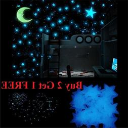 100 pcs Pack Glow In The Dark 3D Stars Moon Stickers Bedroom