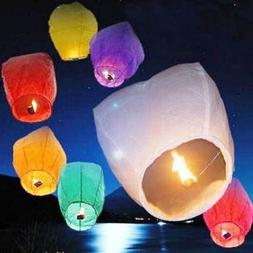 10pcs Fly Lanterns Chinese Paper Wish Lamp Sky Candle Flying