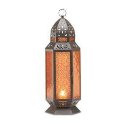 2 Large Glass Tall Moroccan Lanterns Candle Holder