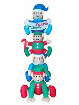 BZB Goods 8 Foot Tall Christmas Inflatable Stacking Elves wi
