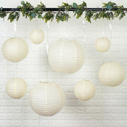 8 IVORY Assorted Sizes Hanging Paper Lanterns Party Wedding