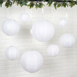 8 WHITE Assorted Sizes Hanging Paper Lanterns Party Wedding