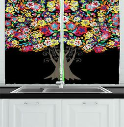 Creative Colorful Kitchen Curtains 2 Panel Set Window Drapes
