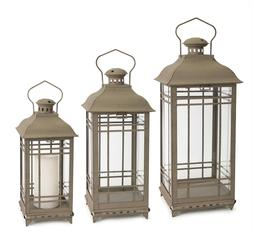 MELROSE CANDLE LANTERNS METAL AND GLASS SET 3 ANTIQUE GRAY
