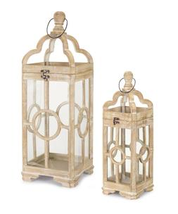 MELROSE CANDLE LANTERNS WOOD AND GLASS ANTIQUED NATURAL WOOD