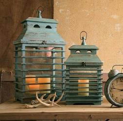 Kalalou CJS1010 Set of 2 Shutter Lanterns - Vintage Blue