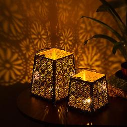 Decorative Flower Cut Metal Lantern Set - Sets of 2 Candle H