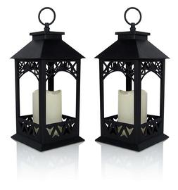 Decorative Lanterns - Set of 2 Black Lantern with LED Pillar