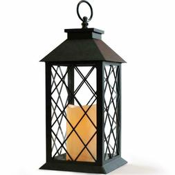 Decorative LED Lantern with Flameless Candle Trellis Window