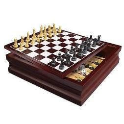 Deluxe Wooden Chess Checker Backgammon Drawer 15 in 1 Classi
