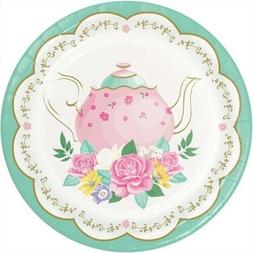 Floral Tea Party 7 Inch Paper Plates Assorted Designs 8 Pack