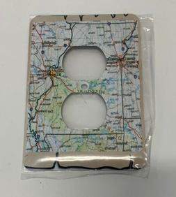 "3dRose - ""Framed Map Of Missouri"" - 2 Plug Outlet Cover New"