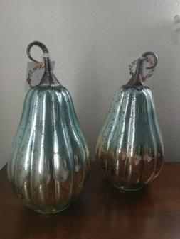 Glass Pumpkin Seasonal Rustic Decor Set