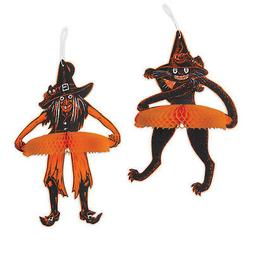HALLOWEEN Decoration Jointed Tango Witch & Cat Vintage Beist