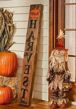 HAPPY HARVEST STANDING WOODEN PORCH SIGN FALL SEASONAL HOME