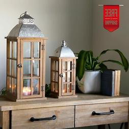Holiday Home Decor Wood Candle Holder Lantern Galvanized Fin