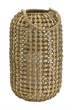 MELROSE JUTE AND WICKER WOVEN CANDLE HOLDER LANTERN 78048