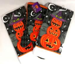 Kitchen Towel Oven Mitt Set of 3 Halloween Pumpkin Jack O La