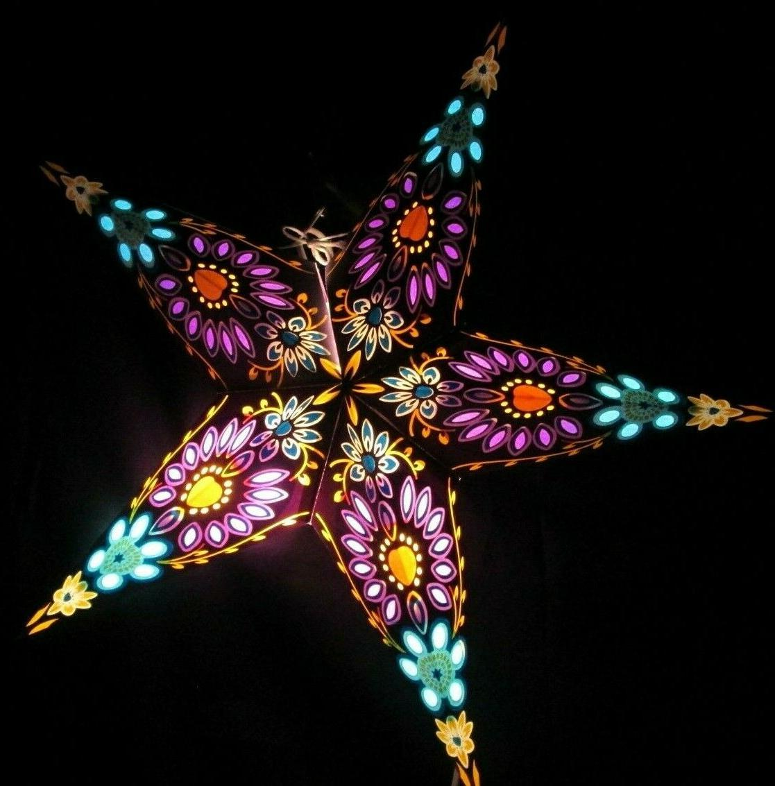 24 purple and turquoise paper star hanging