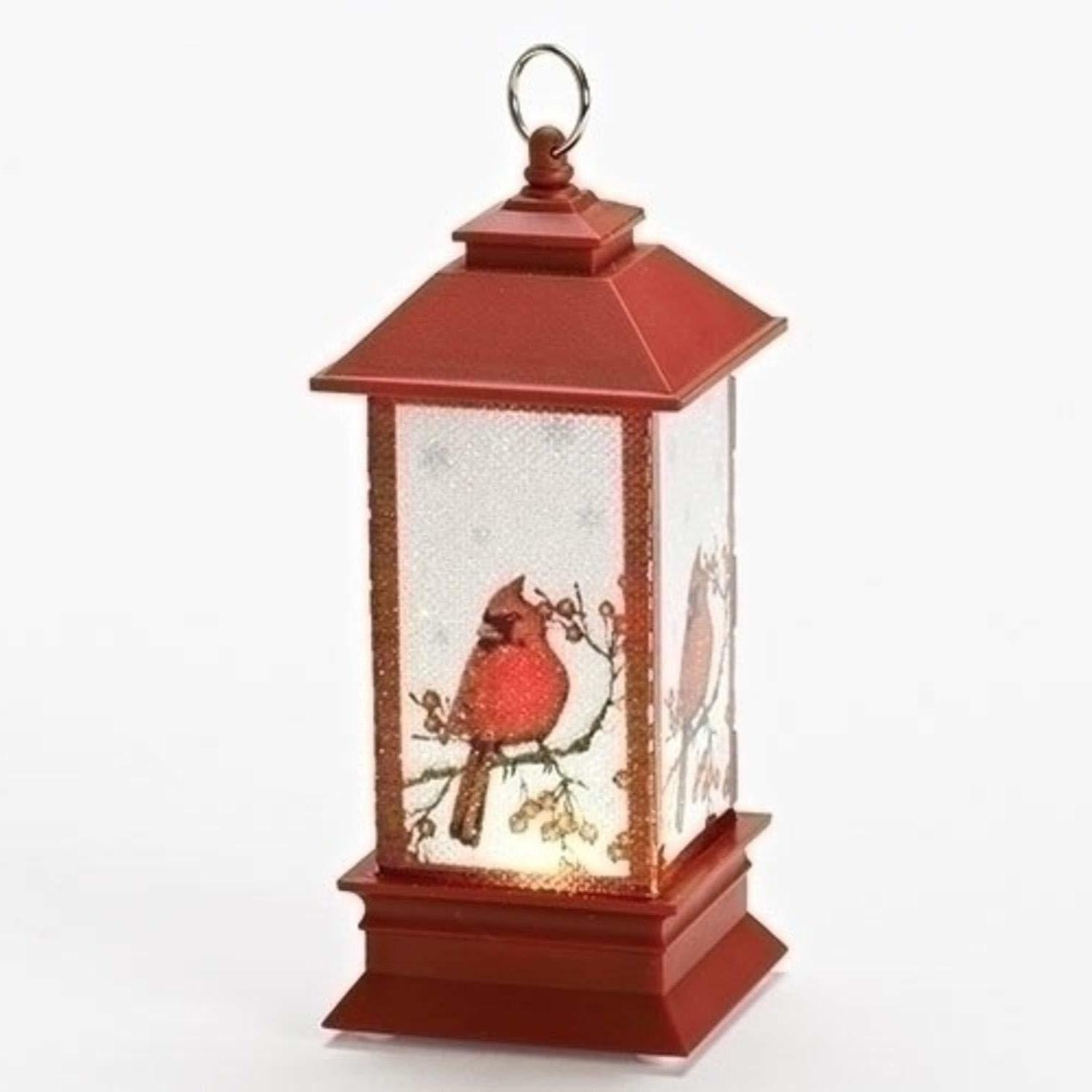 """Roman 5"""" LED Lighted Lantern with Red Cardinal Table Top Dec"""