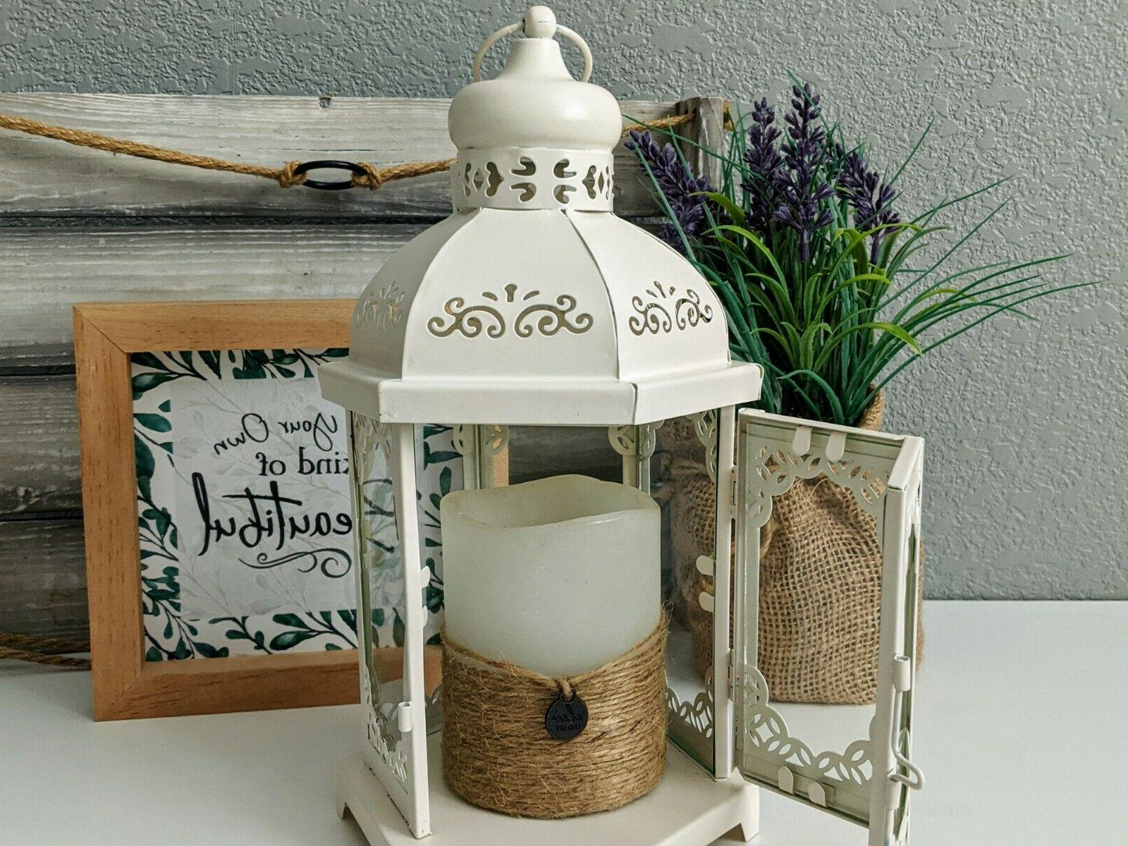 Decorative Metal Candle Lantern in Creamy White Vintage