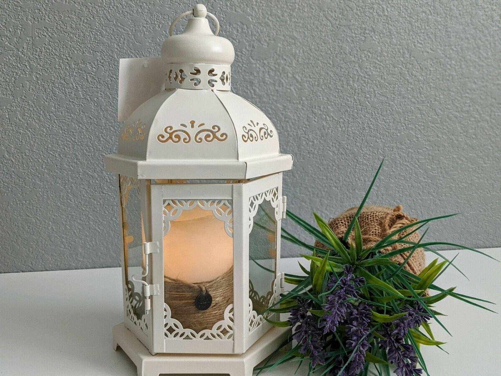 Decorative Metal Candle Lantern Creamy Vintage Style 12""