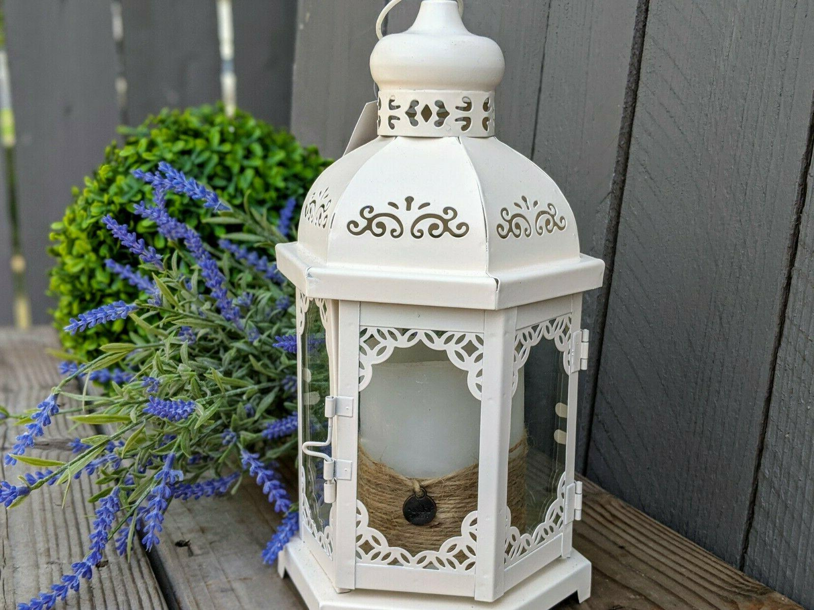 decorative metal candle holder lantern in creamy