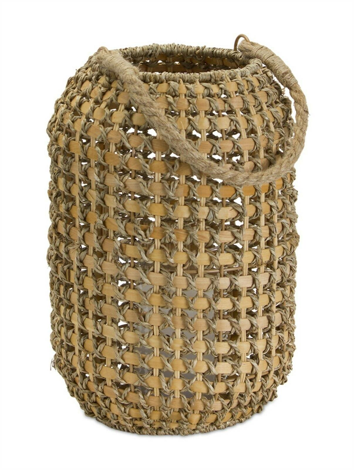 jute and wicker woven candle holder lantern