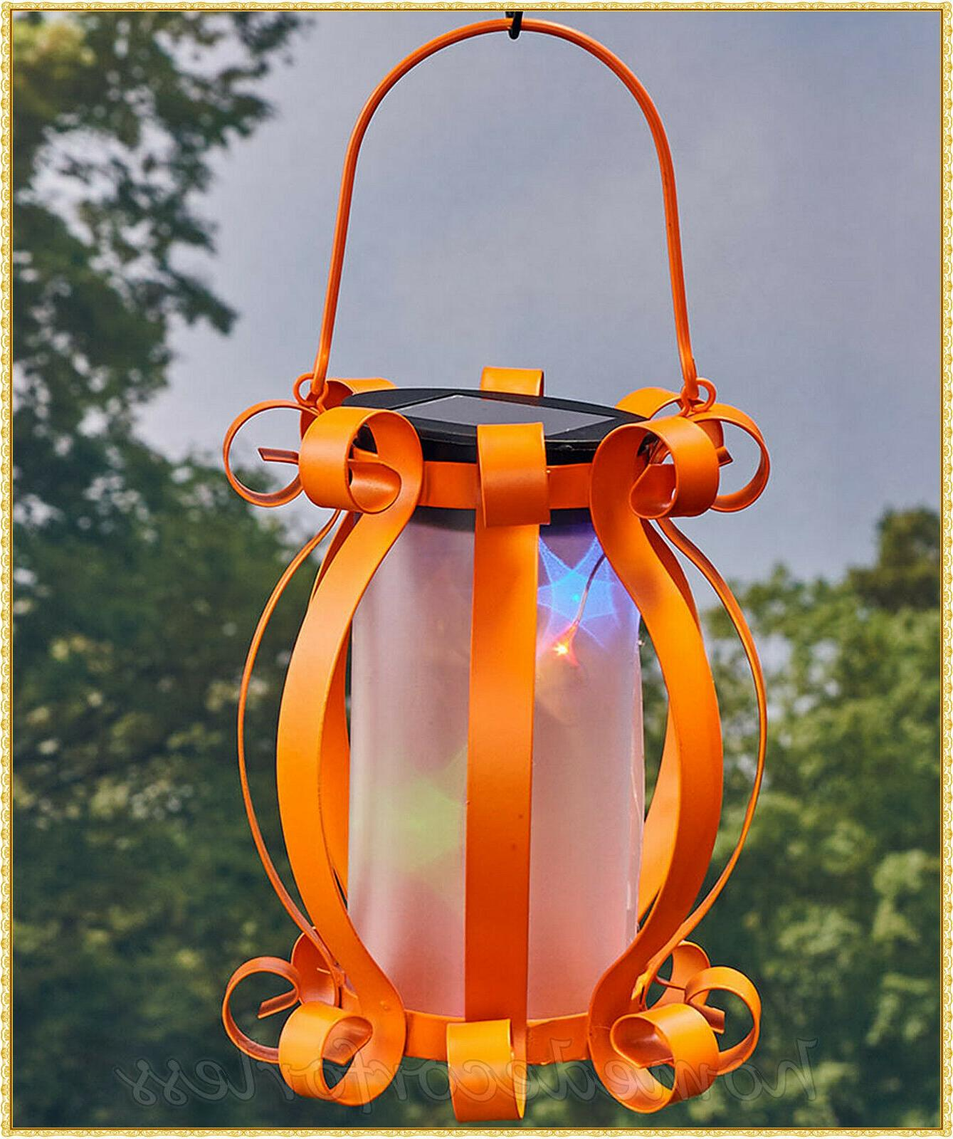 Solar Scroll Lantern Colorful Lights Hanging Patio Outdoor Decor