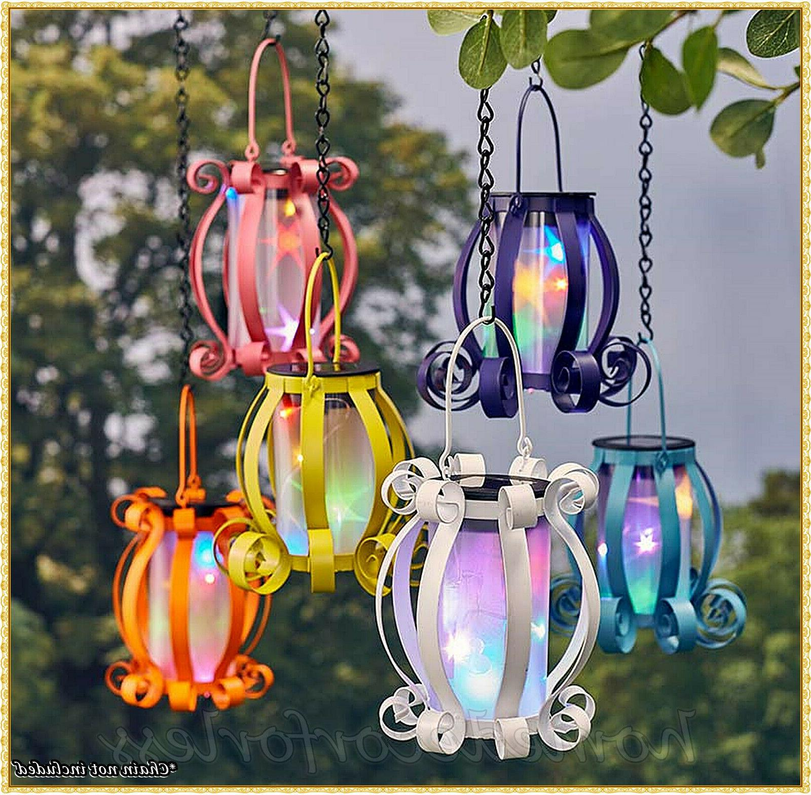 solar scroll lantern colorful lights hanging tabletop