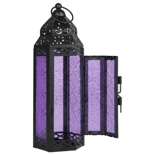 Moroccan Lantern Candle Embossed Colored Glass Candlestick