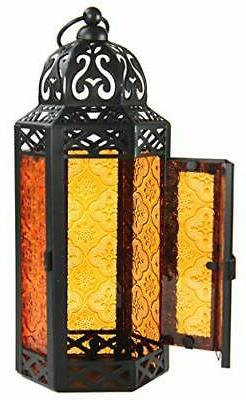 Moroccan Candle with LED Medium, Amber Glass