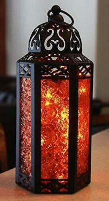 Moroccan Style Candle Lantern with LED Fairy Lights, Medium,