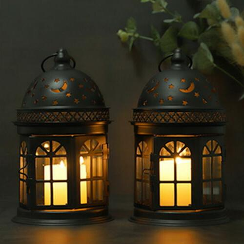 "Set Candle Lanterns-8.5""High Hanging Metal Lantern"