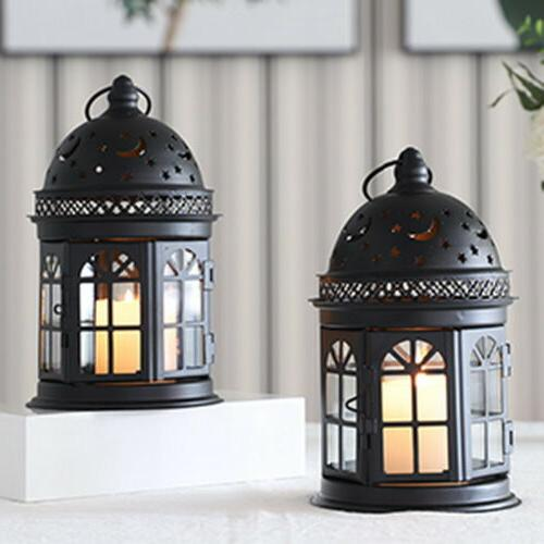 "Set 2 Candle Lanterns-8.5""High Hanging Metal Lantern"