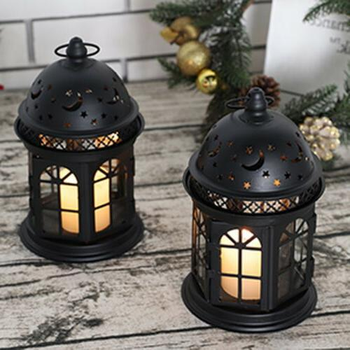 Set Candle Vintage Hanging Metal Lantern