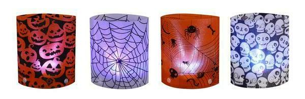 set of 4 led lighted holographic halloween