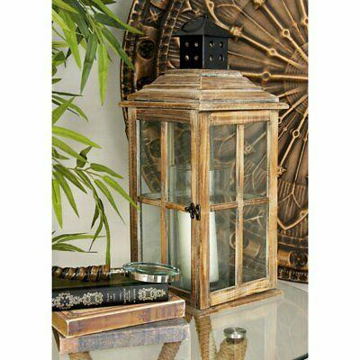 Deco 79 Wood Candle Lantern, 23 by 9-Inch
