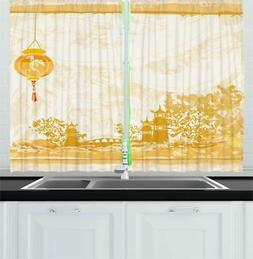 "Lantern Kitchen Curtains 2 Panel Set Window Drapes 55"" X 39"""