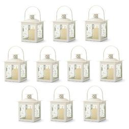 LANTERNS: 10 Small Ivory White Metal and Glass Candle Lamp W