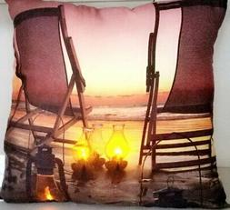 """LED Lighted Sunset Beach Relaxation with Lanterns Pillow 17"""""""