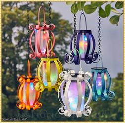 Solar Scroll Lantern Colorful Lights Hanging Tabletop Deck P