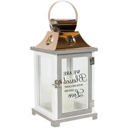 Decor Lantern: We are Blessed w/His Light & Love, LED Candle