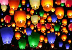 50 Pc Mix Color Chinese Paper Lanterns Sky Fly Fire Wish Wed