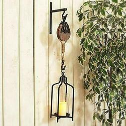 """New Gerson 17.3"""" Metal and Wood Hook with Lantern"""