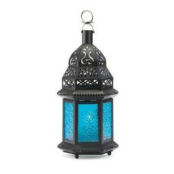 New Gallery of Light Moroccan Lantern Blue Glass Candle Hold