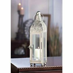 Ornate Silver and Glass Candle Lantern