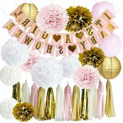 Pink and Gold Baby Shower Decorations Girl Party Celebration